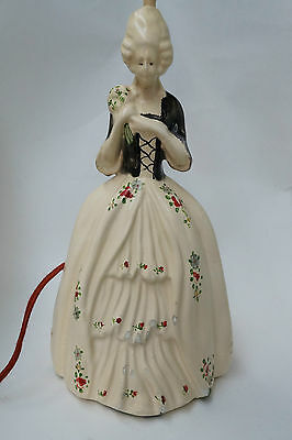 Vintage Ceramic French Lady Figurine Table Lamp Chalkware