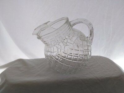 Vintage, Hocking Glass, Waterford or Waffle Pattern, Small Pitcher, Clear