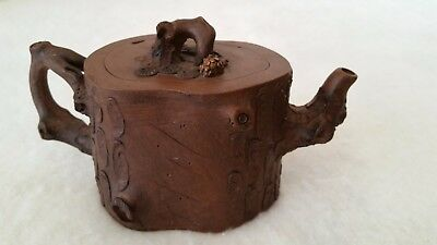 Vintage Yixing Zisha Ornate Dark Brown Clay Tree Teapot Signed & Hallmarked
