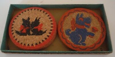 14 - 1950's Vintage Boxed Scottie Dog Cork Coasters by Lowell Scottish Terrier