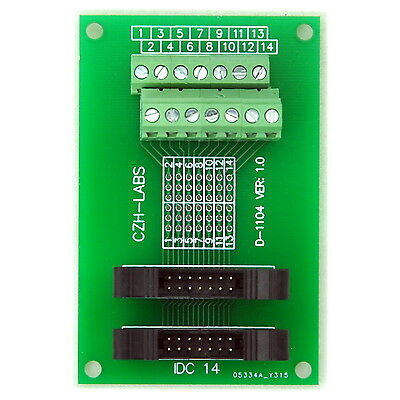 IDC-14 2x7pins 2.0mm Dual Male Header Breakout Board, Screw Terminal Connector.