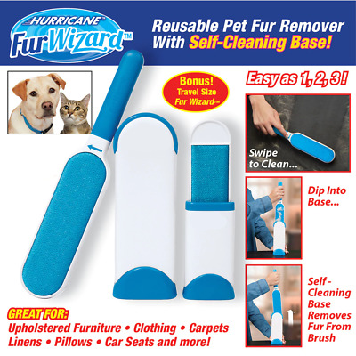 Hurricane Fur Wizard Pet Fur & lint Remover brush Self-cleaning base Travel-size