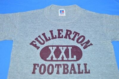 vintage 80s FULLERTON FOOTBALL GRAY RAYON TRI BLEND HEATHERED t-shirt YOUTH S