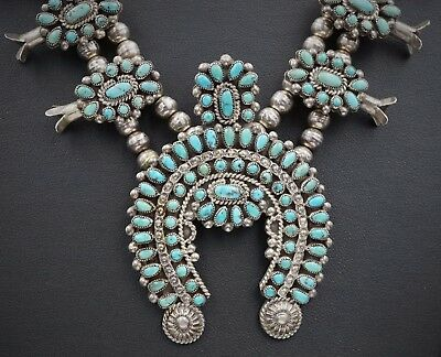 "Vtg Zuni Petit Point Sterling Silver Turquoise Squash Blossom Necklace 24"" NS918"