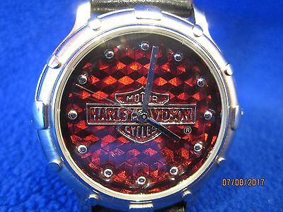 Fossil Harley Davidson Rare Red Ceramic-Like Dial Leather Watch