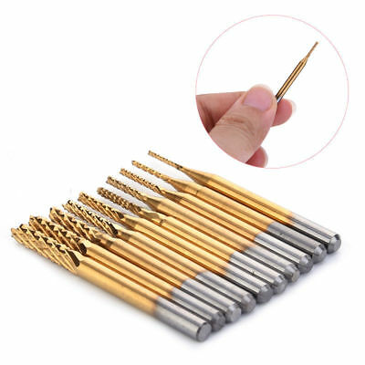 10x 1/8'' 0.8-3.175mm PCB Drill Bit Set Engraving Cutter Rotary CNC End Mill New