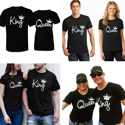 36b1ce0aaefe 2018 Couple T-Shirt King And Queen Love Matching Shirts Summer Tee Unisex  Tops