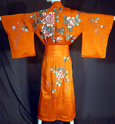 Vintage Japanese Orange Silk Peony French Knot Embroidery Belted Kimono Robe