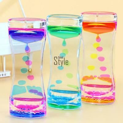 Floating Color Mix Illusion Timer Slim Acrylic Liquid Oil Hourglass Timer New TX
