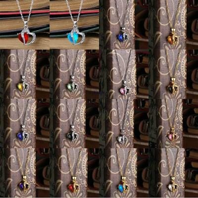 Fashion Women Pendant Jewelry Crystal Heart 925 Sterling Silver Chain Necklace