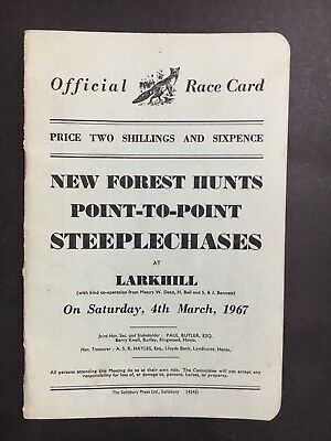 Race Book, Card, From U.k New Forset Hunts Point-To-Point Steeplechases