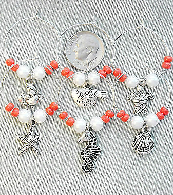 6 Coral Seas Wine Charms Shell Seahorse Turtle Glass Beads & Pearls . FREE SHIP