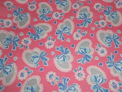 VINTAGE 40's CUTE PINK HEARTS   FEED SACK COTTON FABRIC