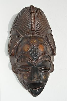 Fantastic Antique Hand Crafted Multi-Coins Inlay Carved Wood/Copper African Mask