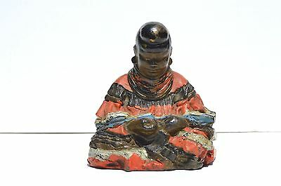 Rare Antique Hand Painted Cast Iron Figural Door Stop/ Bookend/paper Weight