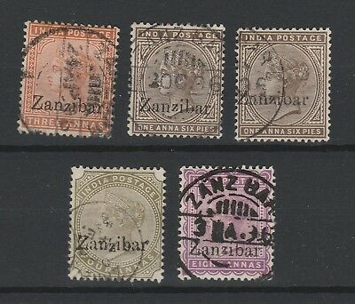 Zanzibar 1895 Selection of 5 with small z vf used