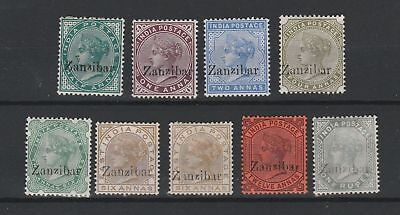 Zanzibar 1895 selection of 9 all with small z vf MINT