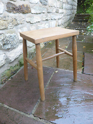 Vintage Oblong Topped Stool Elm +Beech. Turned Legs with Cross Stretchers