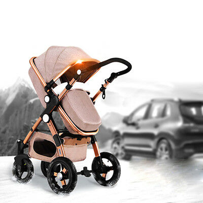 Luxury 3 in1 Baby Stroller High View Pram Foldable Pushchair Bassinet Car Seat