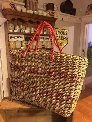 Vintage Wicker / Seagrass Shopping Basket – Red Plastic Trim – Great Condition!
