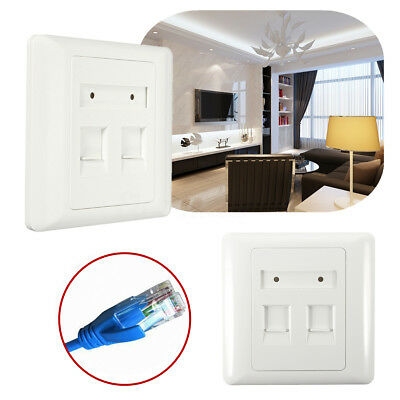 2 Port Square RJ45 CAT6 Ethernet Network Wall Flat Face Plate Socket Faceplate