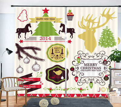 3D Merry Xmas New Year Blockout Photo Printing Decor Curtain Drape Fabric Window