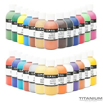 Acrylic Art & Craft Paint Colours x 250mL by Global Colours - Australian Made