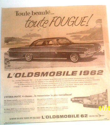 1962 Oldsmobile Holiday Super 88 Coupe Automobile Original Ad In French
