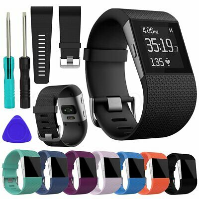 Replacement Silicone Wristband Strap Watch Band Complete Kit For Fitbit Surge AU