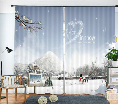 3D Romantic Love In Snow World Photo Printing Decor Curtain Drapes Fabric Window