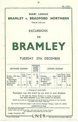Rugby League at Bramley v Bradford Northern LNER 1938 x Dudley Hill,St.Dunstans