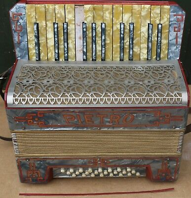 Old Cased Pietro Piano Accordion To Tidy Up Or Restore