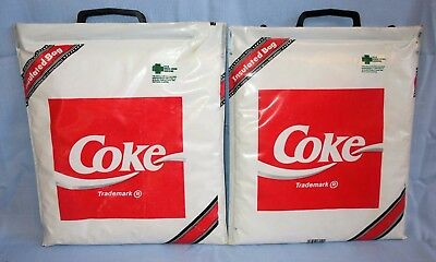 2 Lot Vtg Coke Insulated Cooler Tote Bags 14x13x1 1990 Holds 8 Cans Cold / Hot