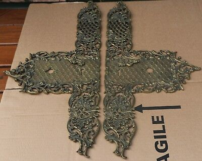 Pair Of Very Large Old Very Ornate Brass Door Finger Plates With Keyhole Covers