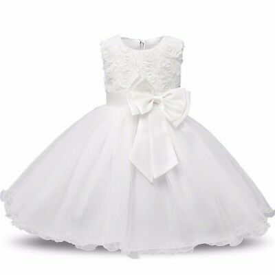 White Baby Girl Baptism Baby Christening Gown Bow Birthday Dress 3-6 9-12 m