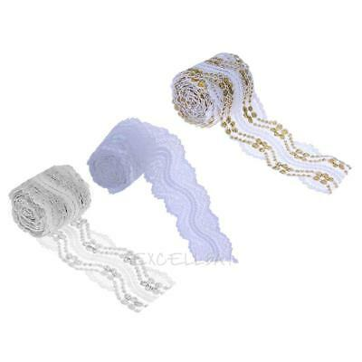 5yd Vintage Embroidered Lace Edge Trim Ribbon Wedding Applique DIY Sewing E0Xc