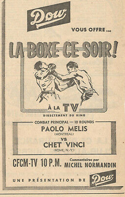 1955 DOW ALE & BOXING TONIGHT PAOLO MELIS vs CHET VINCI ORIGINAL AD IN FRENCH
