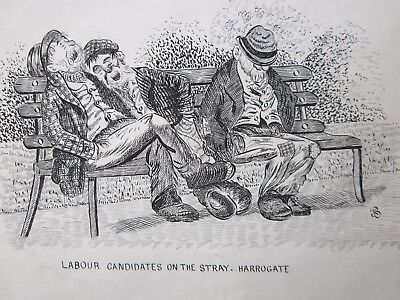ANTIQUE POLITICAL DRAWING c.1900 - JKB - LABOUR CANDIDATES ON STRAY HARROGATE