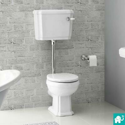 Traditional Bathroom Toilet Pan & Cistern Low Level Gloss White WC Ceramic Flush