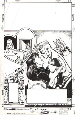 Black Widow, Hawkeye Avengers Original Cover Art-Ty Templeton-Free Shipping!