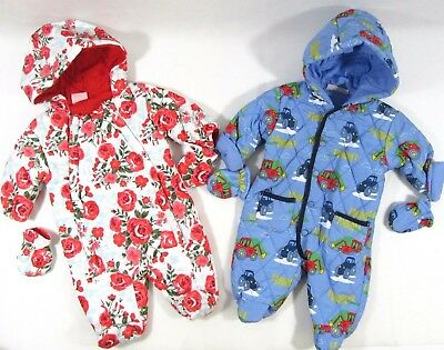 Baby Babies Boys Girls Pram Suit Rose Flower Tractor Snowsuit All In One Mittens