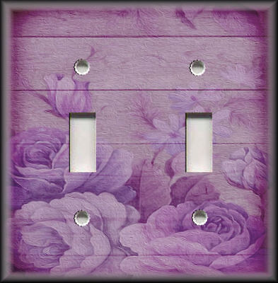 Metal Light Switch Plate Cover Shabby Chic Decor Wood Roses Purple Wallplate