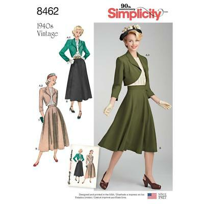 SIMPLICITY SEWING PATTERN MISSES' 1940s VINTAGE BLOUSE SKIRT BOLERO 6-24 8462