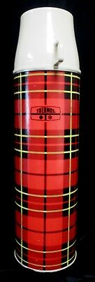 """Vintage Red Plaid Thermos by Vacuum Bottles w/Cup Lid 13.75"""" Tall (579)"""