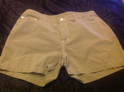 Khaki Green Cotton Shorts, Size 16