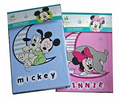 Baby Kinder Bettwäsche Disney Minnie & Mickey Mouse Bezug 100x135cm