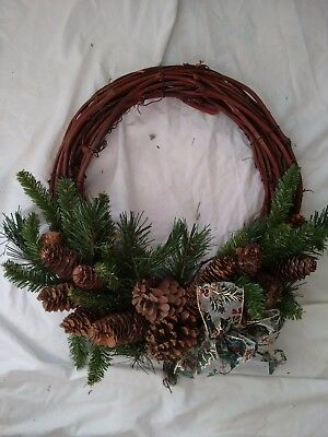 """Christmas Wreath 19"""" With Branches Pine Cones Holly Berries and Bows"""