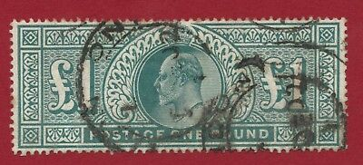 King Edward VII - SG 266 £1 green fine used. Exactly as scan - Ref 961