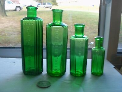 Four Different Six Sided Ridge Green Poisons Embossed, Not To Be Taken