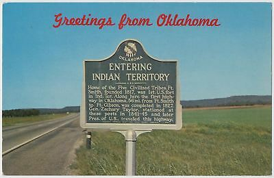 Roadside Sign - Entering Indian Territory - Oklahoma Border